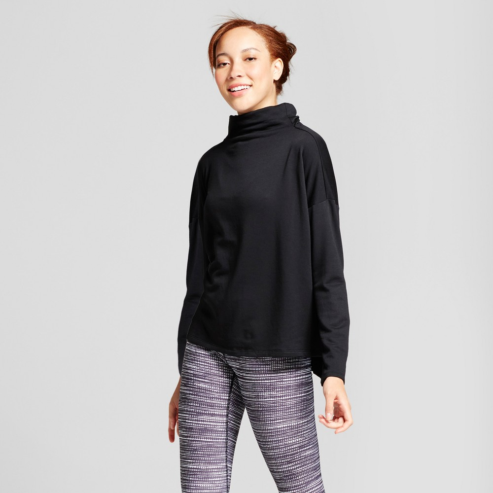 Womens Turtleneck Cozy Layering Sweatshirt - JoyLab Black M