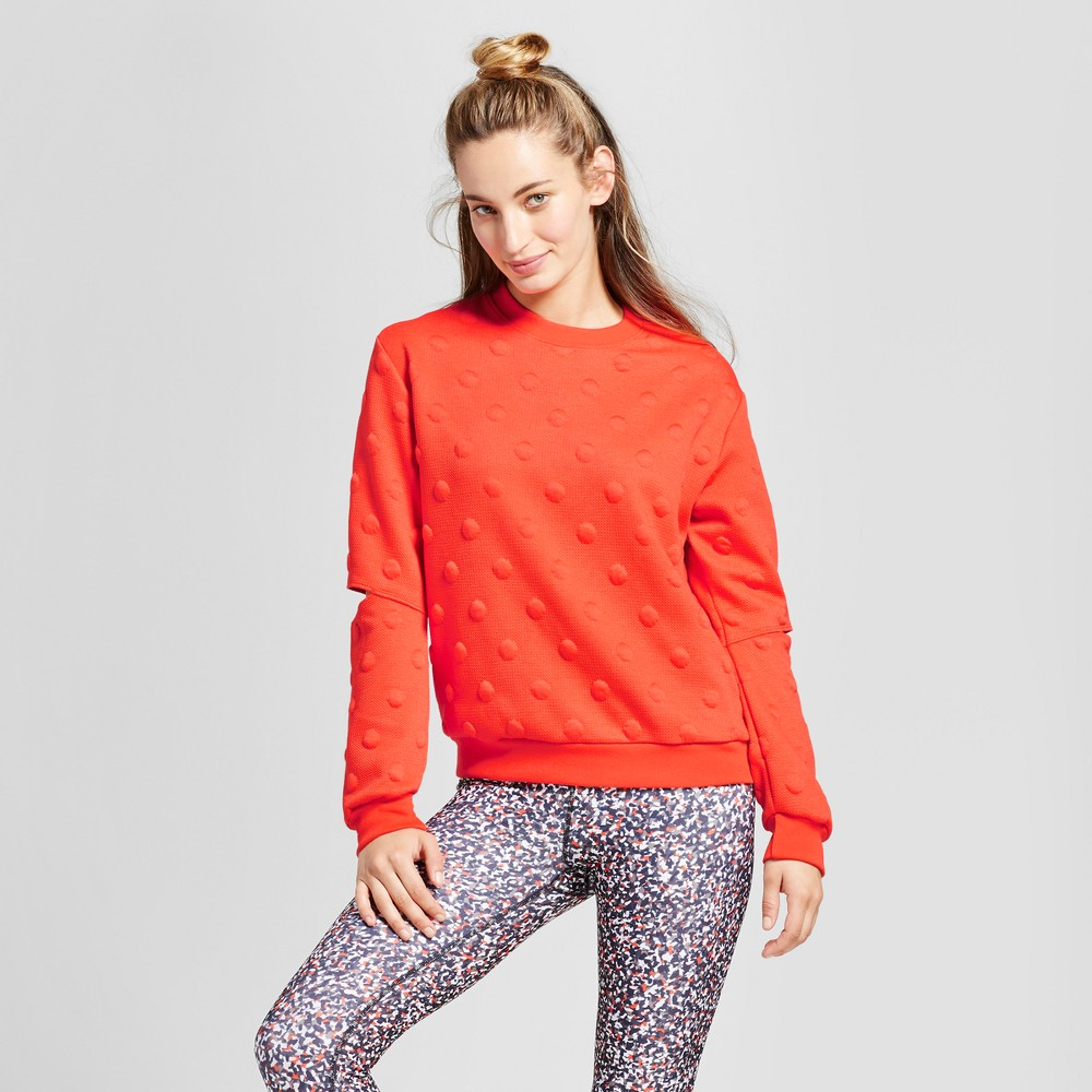 Womens Polka Dot Sweater with Elbow Cut Outs - JoyLab Red L