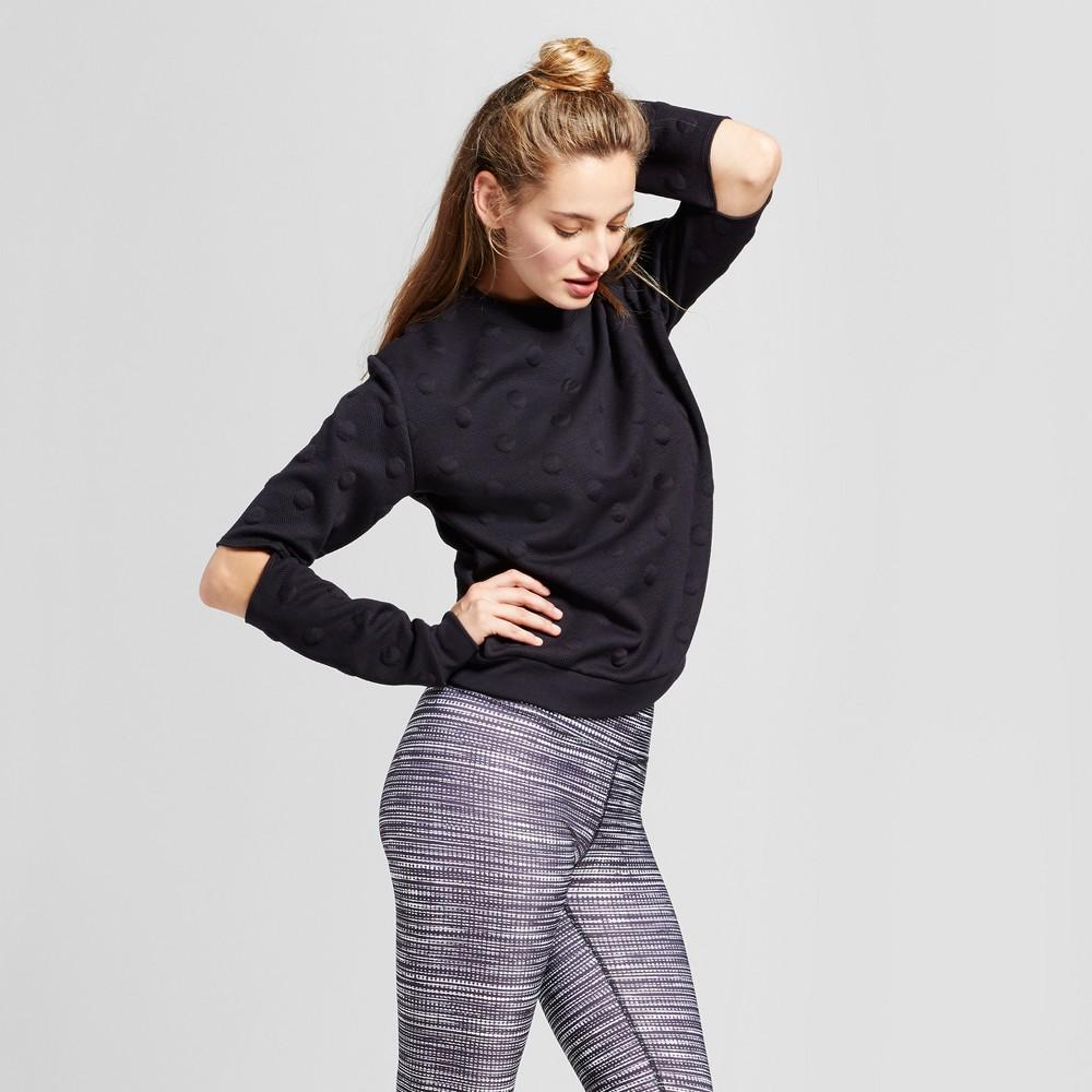 Womens Polka Dot Sweater with Elbow Cut Outs - JoyLab Black XL
