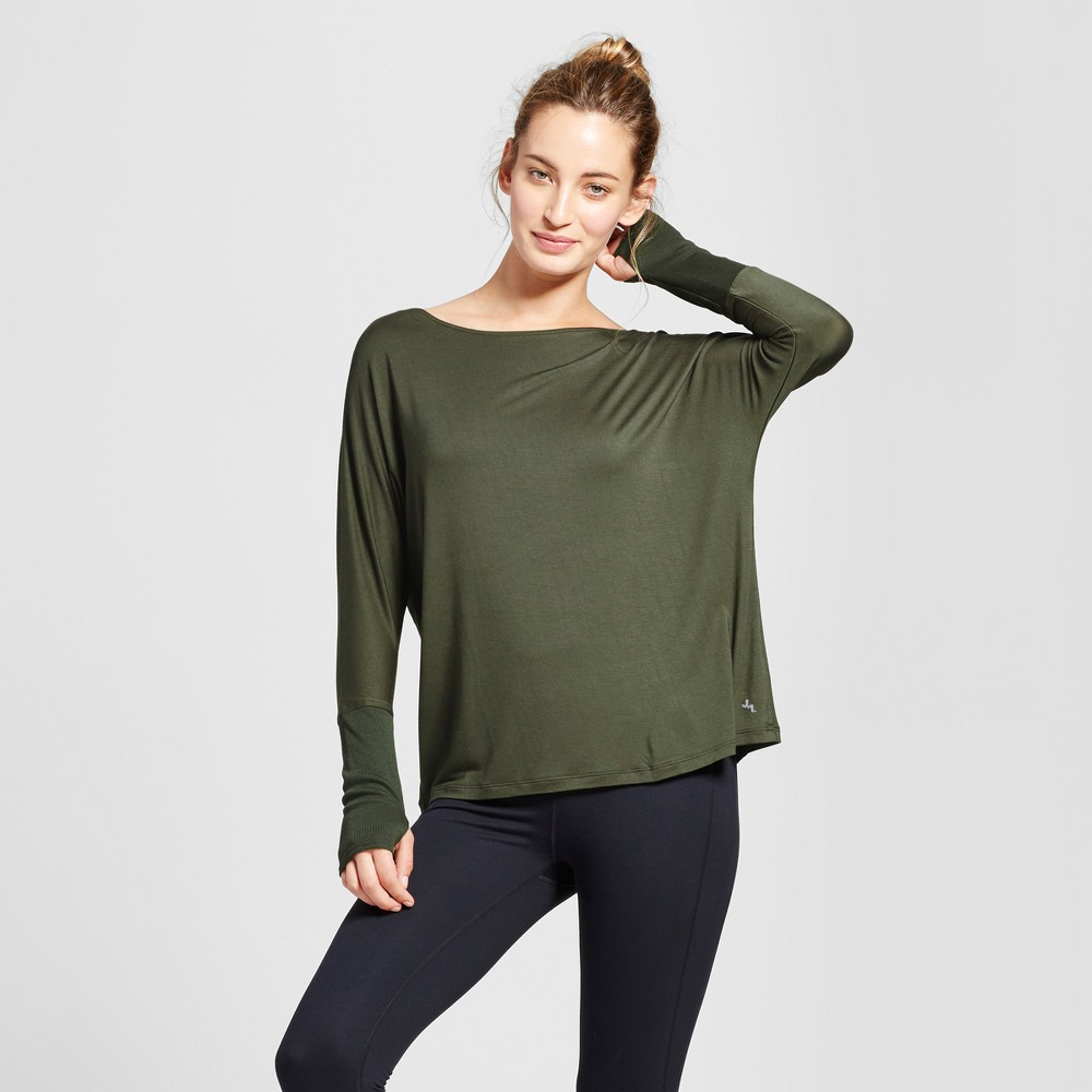Womens Open Back T-Shirt with Ribbed Sleeves - JoyLab Deep Olive L