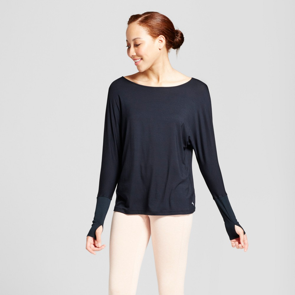 Womens Open Back T-Shirt with Ribbed Sleeves - JoyLab Black L