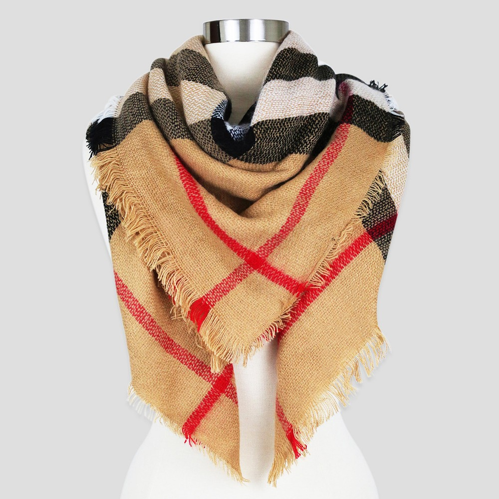 Womens Sylvia Alexander Fashion Scarf - Camel Plaid
