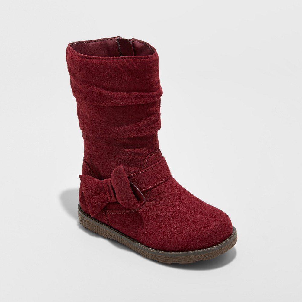 Toddler Girls Jeanna Scrunch Fashion Boots Cat & Jack - Burgundy (Red) 11
