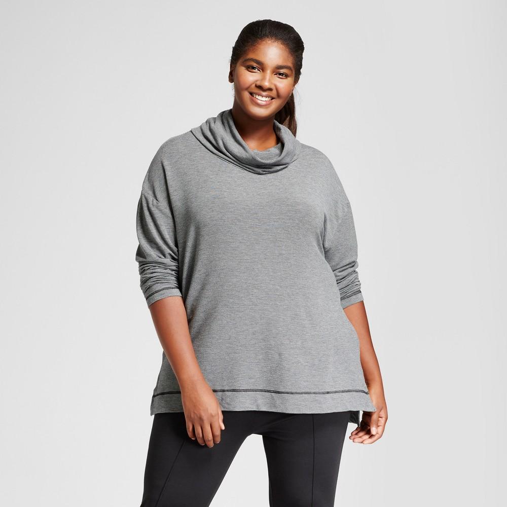 Womens Plus Size Cowl Neck Hoodie - Ava & Viv Gray Stripe 3X