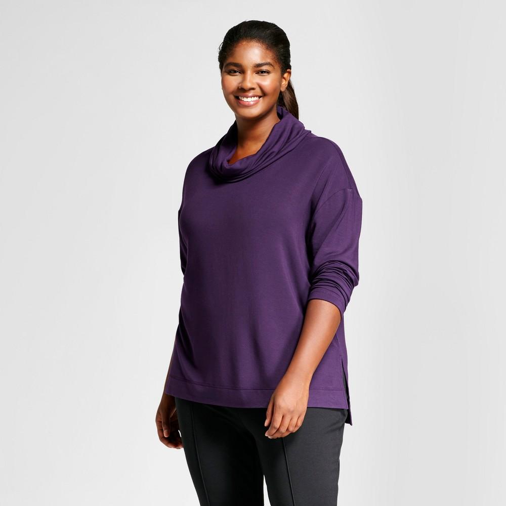 Womens Plus Size Cowl Neck Hoodie - Ava & Viv Purple X