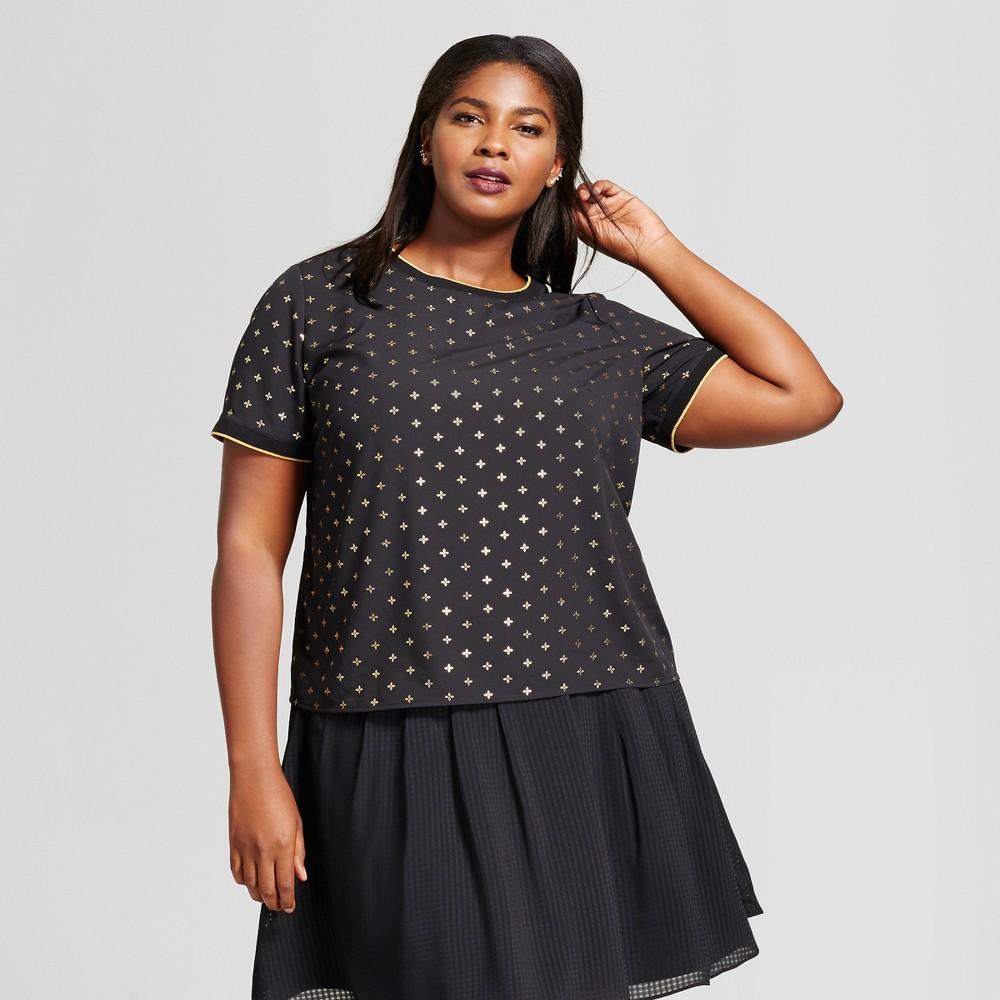 Womens Plus Size Foil Crepe T-Shirt - A New Day Black 4X