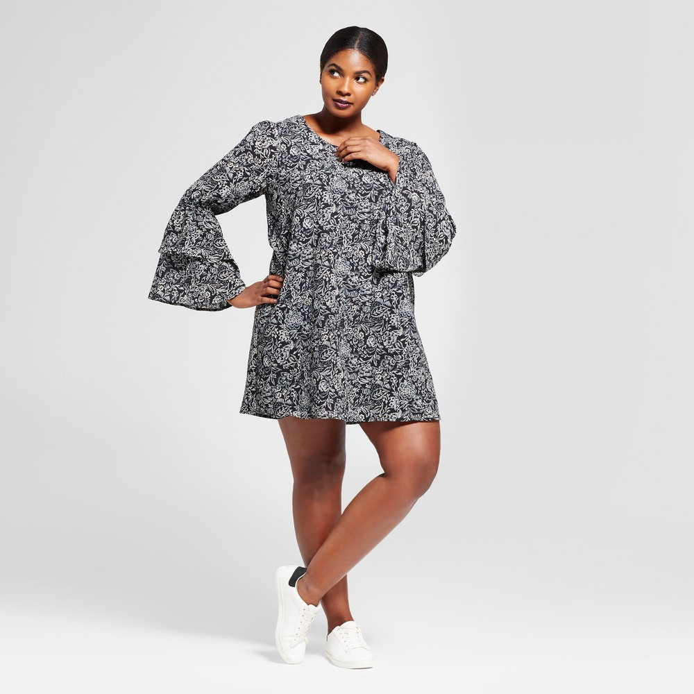 Womens Plus Size Printed Bell Sleeve Dress - A New Day Black 2X