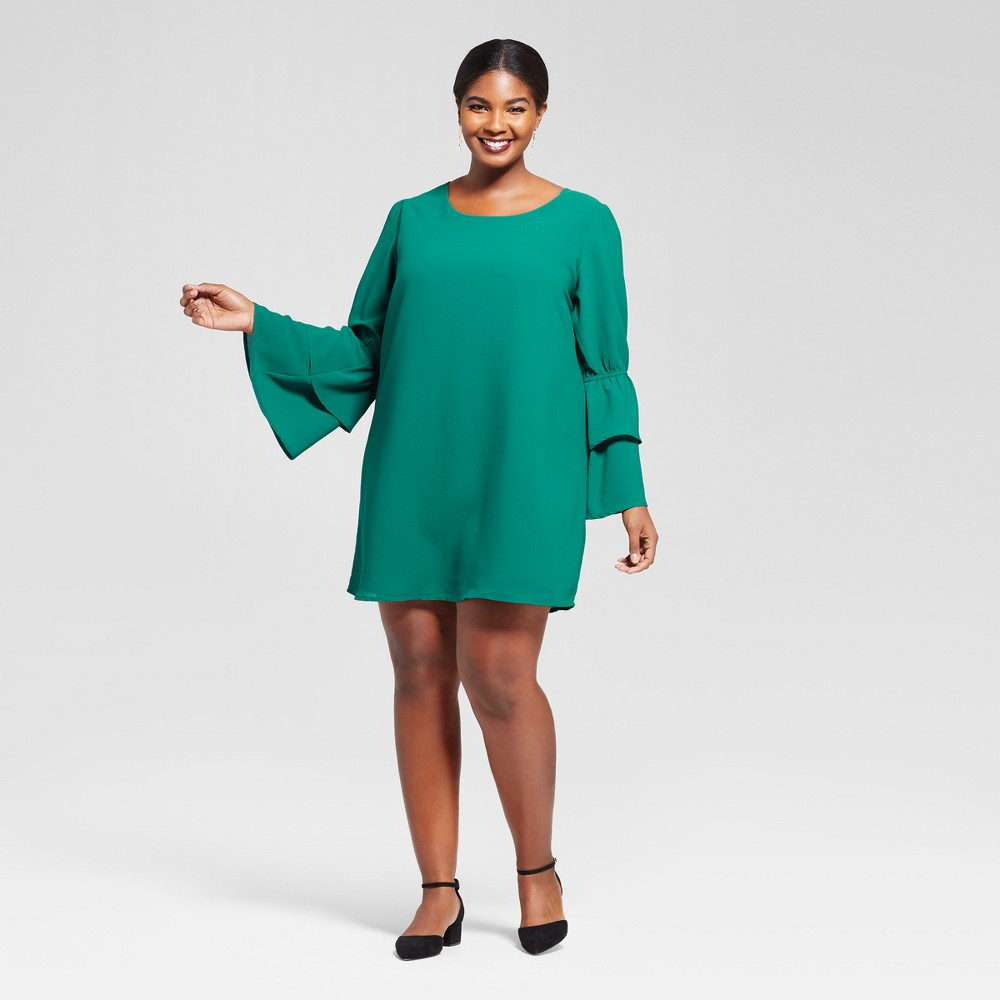 Womens Plus Size Bell Sleeve Dress - A New Day Green 4X