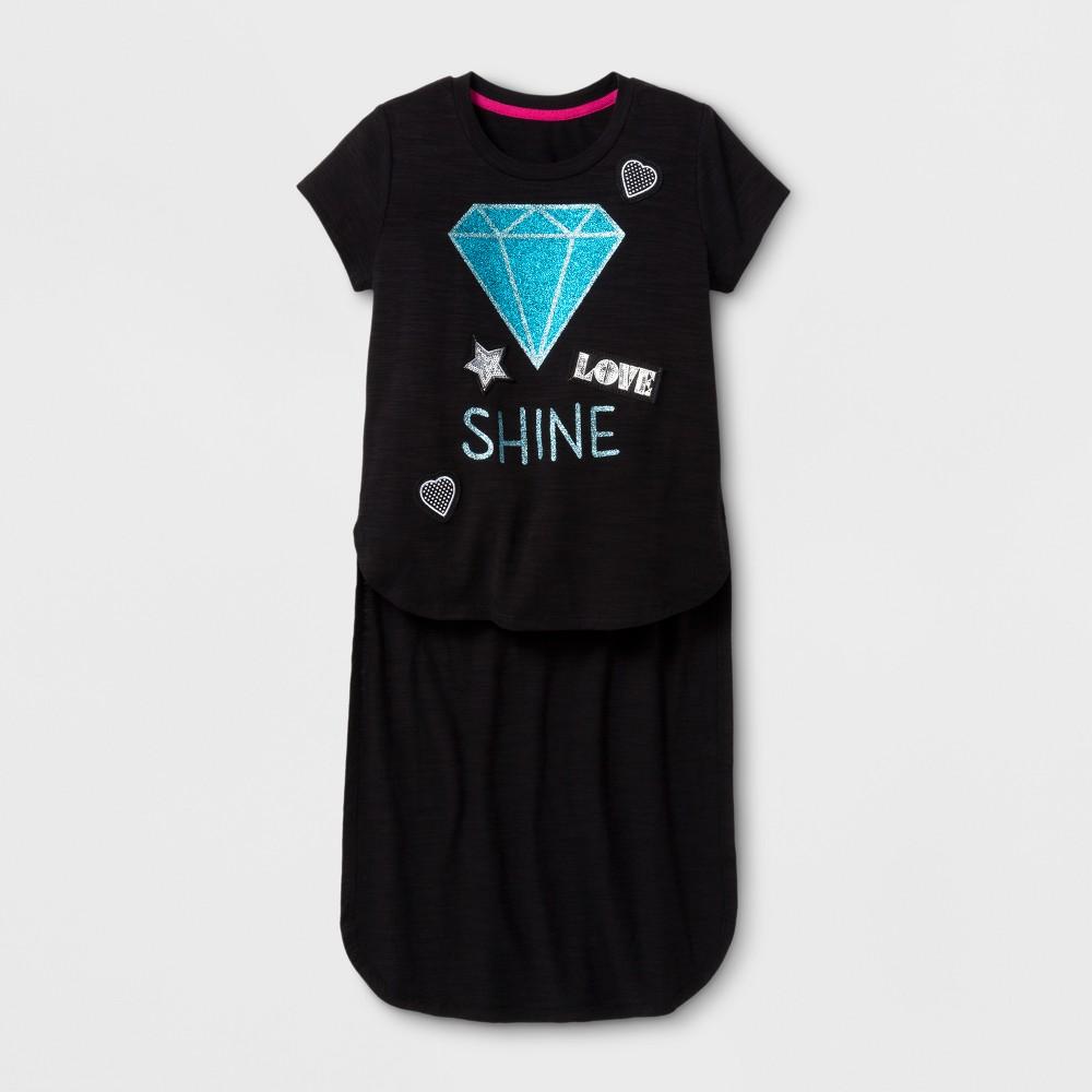 Girls High Low Diamonds T-Shirt - Art Class Black XL