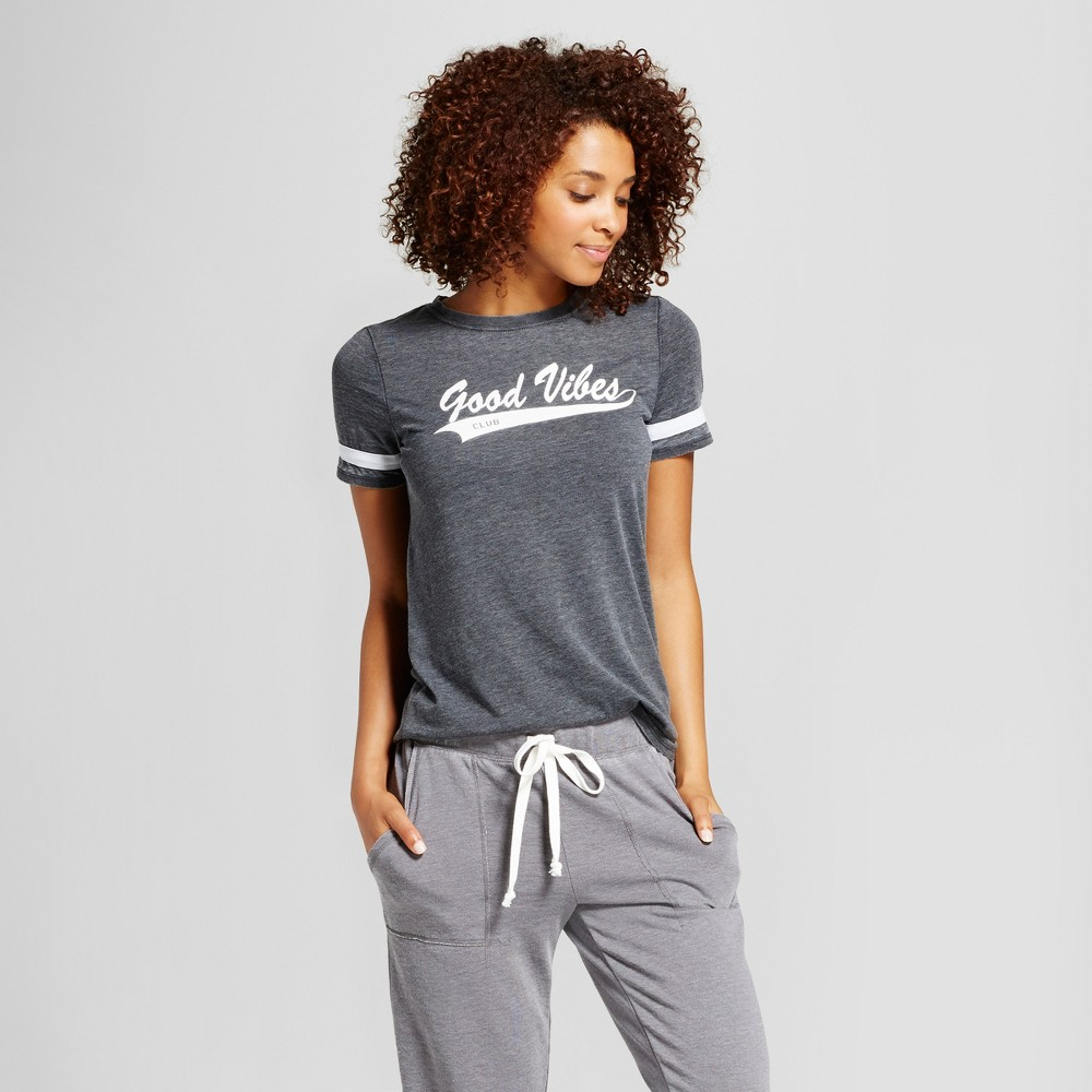 Womens Good Vibes Sleep T-Shirt - Xhilaration Gray S, Black