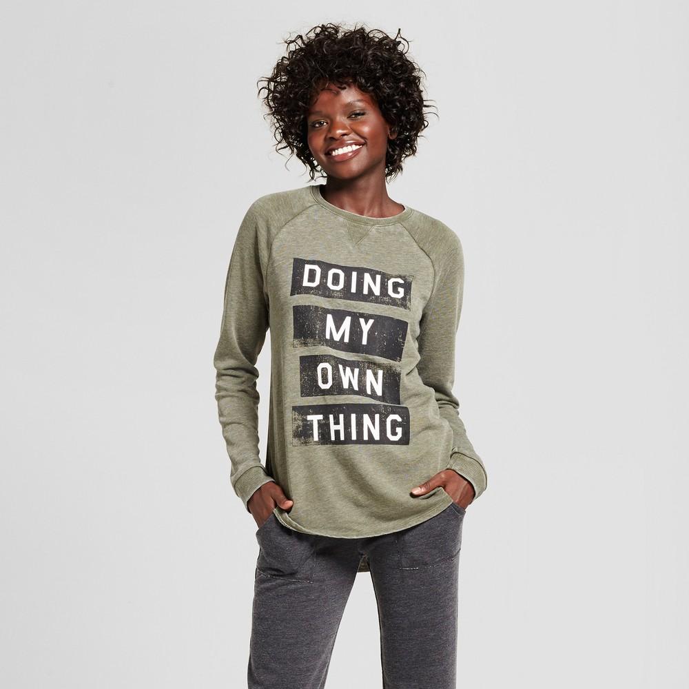 Womens Sleep Sweatshirt - Xhilaration Deep Olive XS, Green