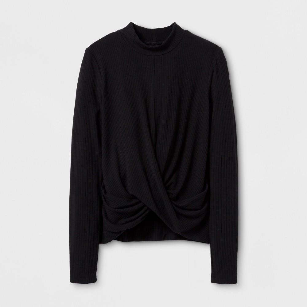 Girls Long Sleeve Rib Knit T-Shirt - Art Class Black M