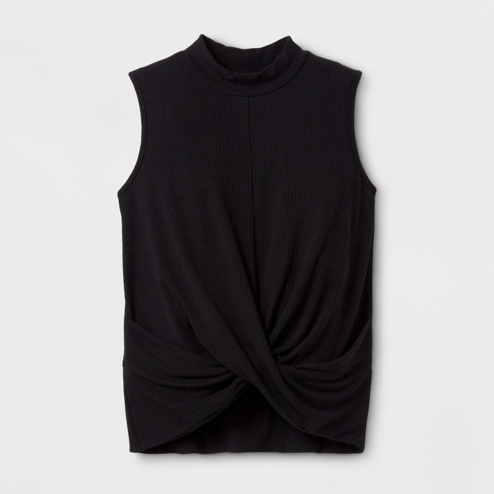 Girls Sleeveless Rib Knit T-Shirt - Art Class Black M