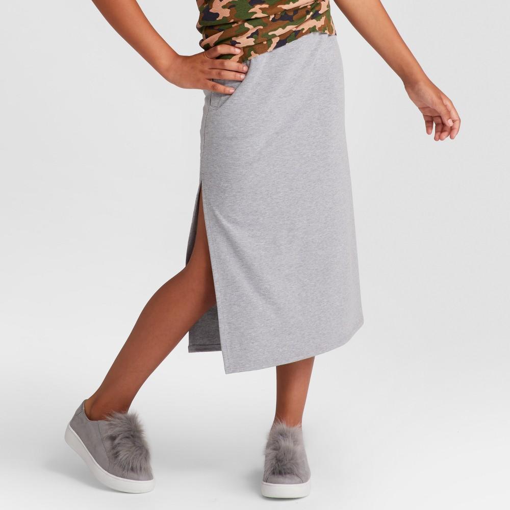 Girls Side Slit Knit Maxi Skirt - Art Class Heather Gray S