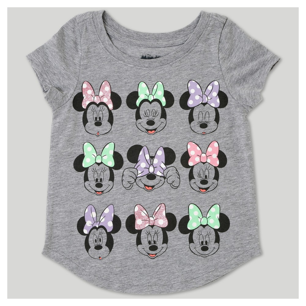 Toddler Girls Minnie Mouse Short Sleeve T-Shirt - Disney Heather Gray 5T