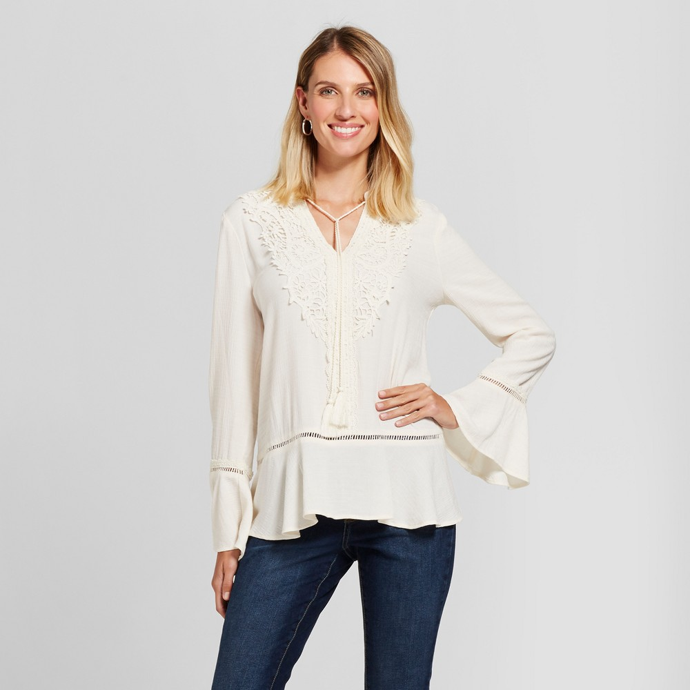 Womens Bell Sleeve Crochet Top - Knox Rose Ivory M, White