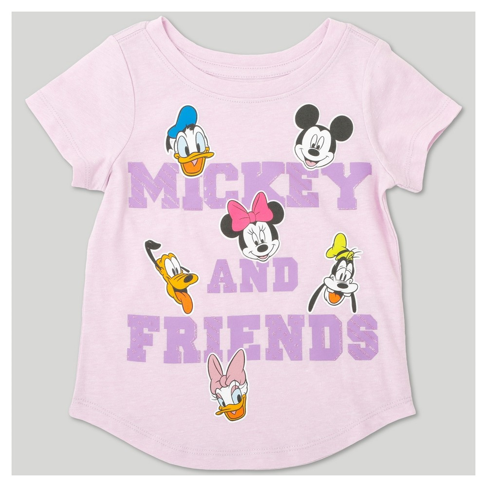 Toddler Girls Mickey And Friends Short Sleeve T-Shirt - Disney Lilac Heather 5T, Purple