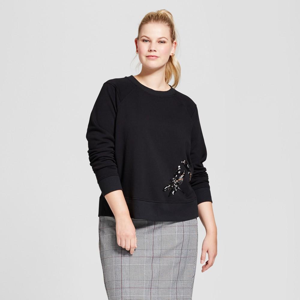 Womens Plus Size Embellished Sweatshirt - A New Day Black X