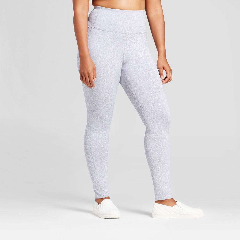 Plus Size Womens Plus High Waist Mini Stripe Leggings - JoyLab Heather Gray 1X