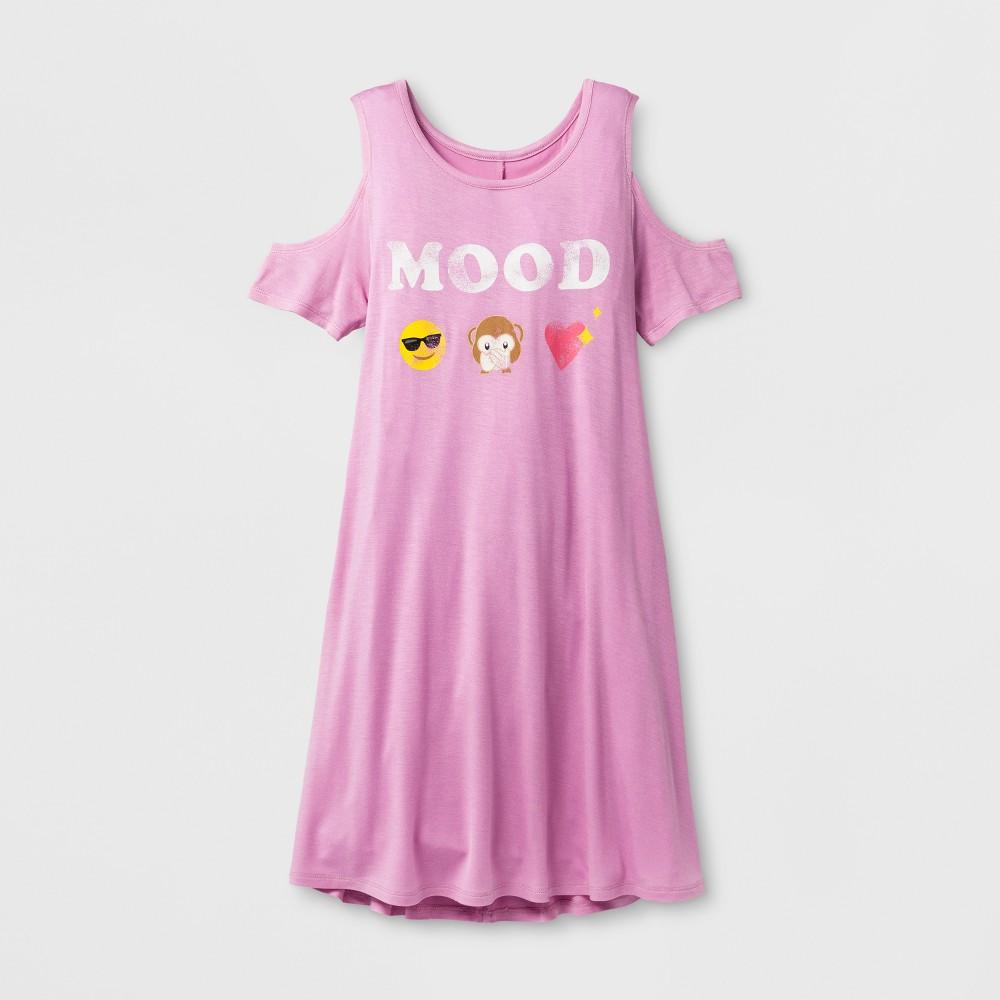 Girls Mood Emoji Graphic Cold Shoulder Dress - Pink L, Purple