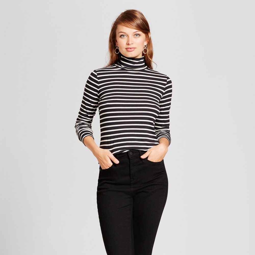 Womens Long Sleeve Striped Turtleneck - A New Day Black/White Xxl