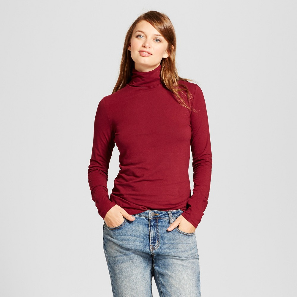 Womens Long Sleeve Turtleneck - A New Day Burgundy (Red) S