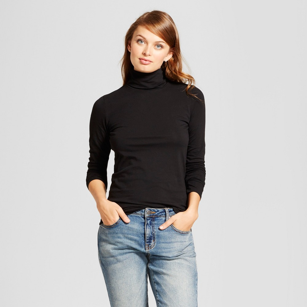 Womens Long Sleeve Turtleneck - A New Day Black S