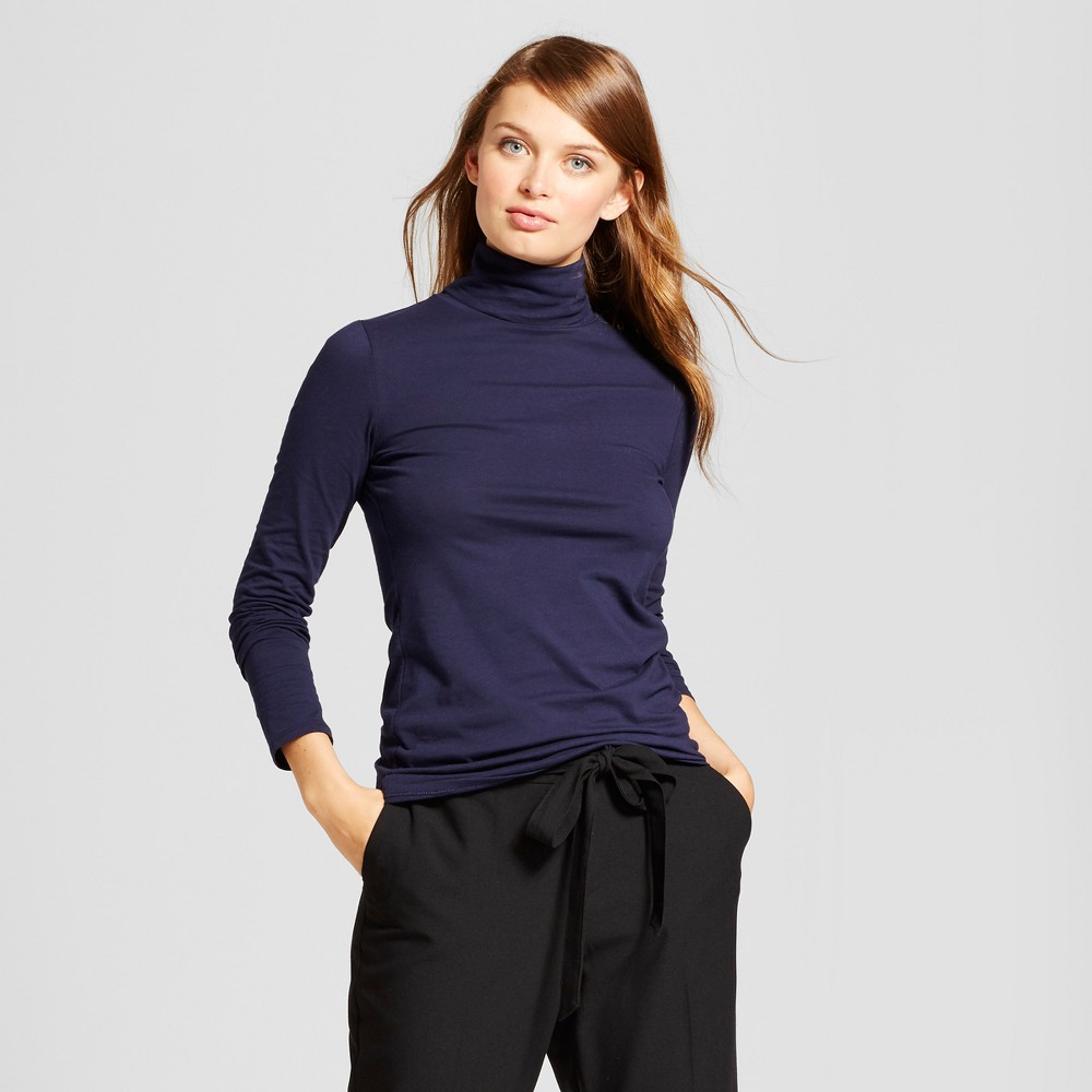 Women's Long Sleeve Turtleneck - A New Day Navy (Blue) M