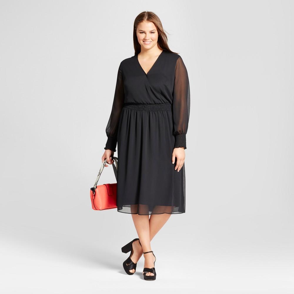 Womens Plus Size Smocked Waist Dress - Who What Wear Black 3X