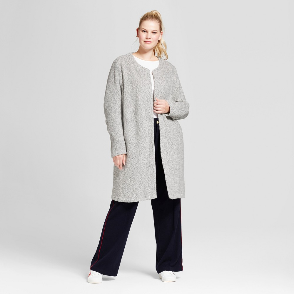 Womens Plus Size Cozy Car Coat - A New Day Gray 1X