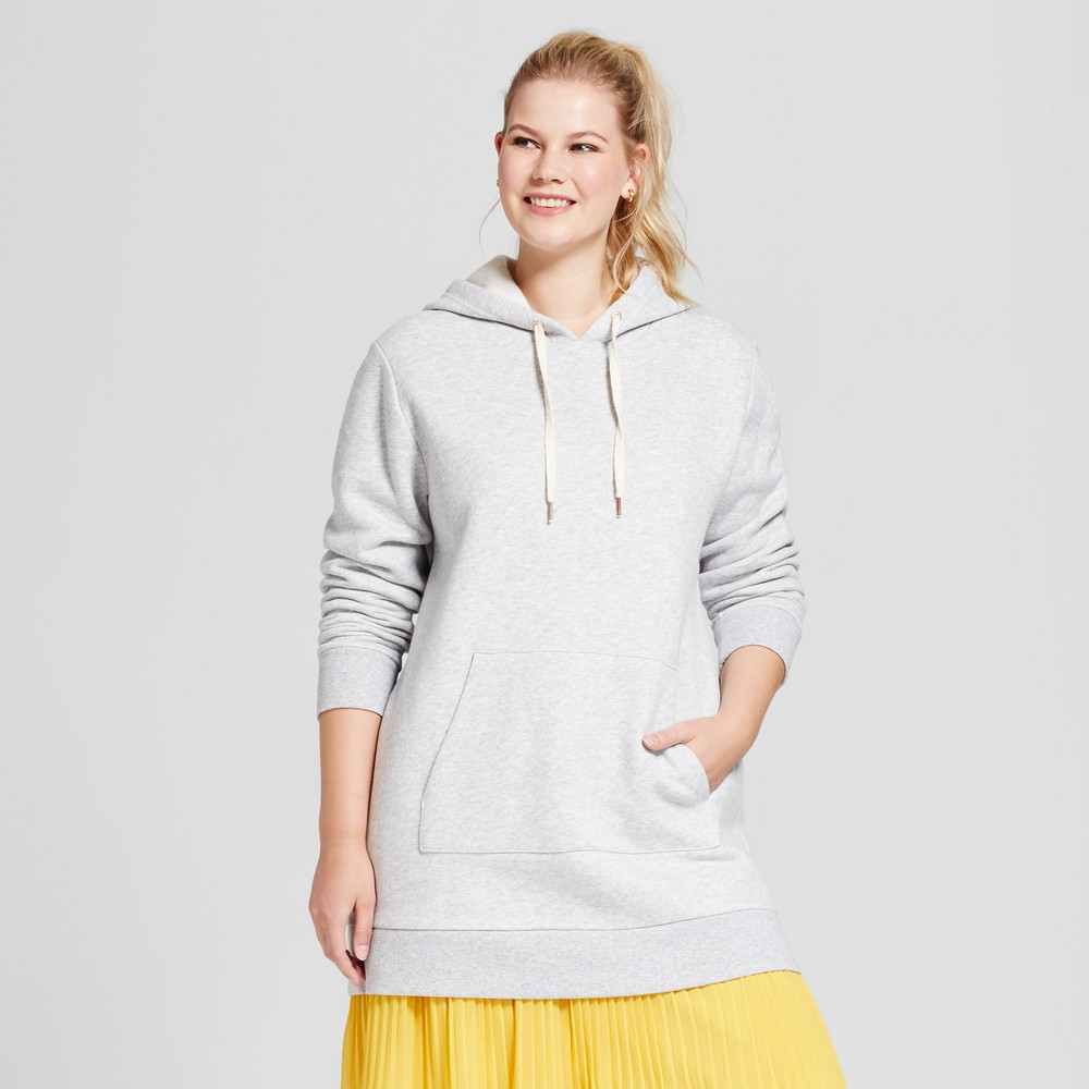 Womens Plus Size Tunic Hoodie - A New Day Gray 2X, Heather Gray