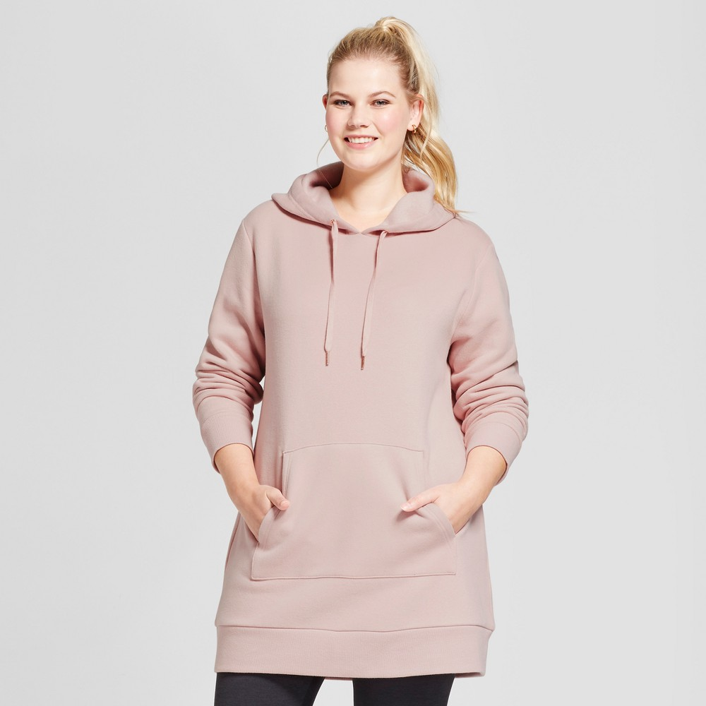 Womens Plus Size Tunic Hoodie - A New Day Smoked Pink X