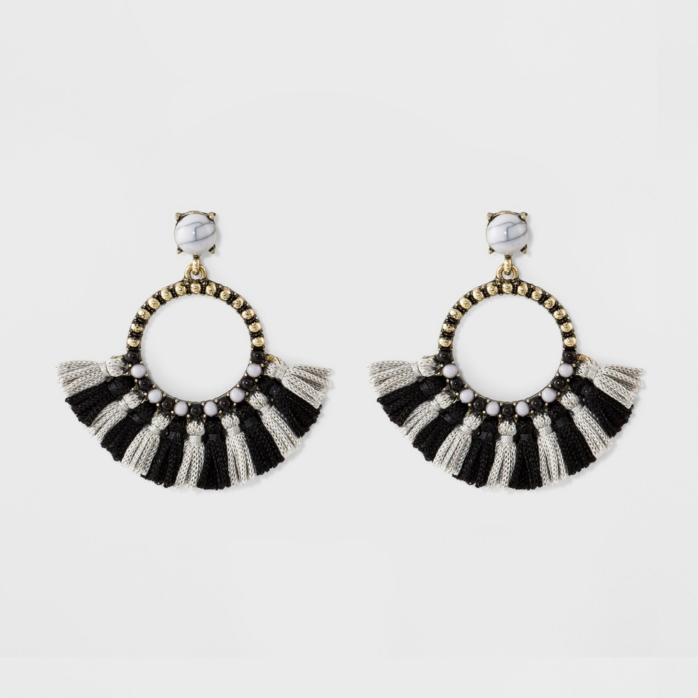 Sugarfix by BaubleBar Tassel Hoop Earrings - Gray, Womens