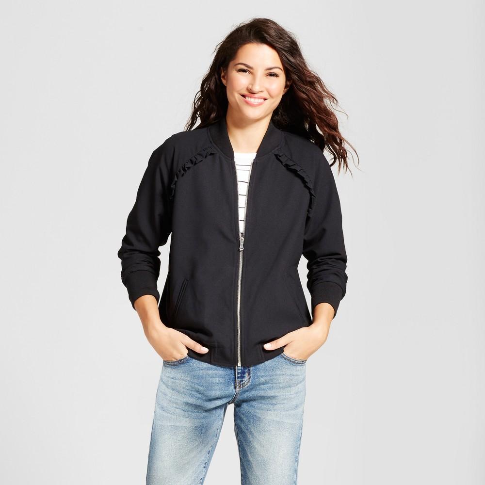 Womens Ruffle Bomber Jacket - A New Day Black L