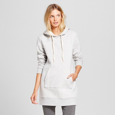 Women's Long Sleeve Hoodie Tunic - A New Day™ Gray M