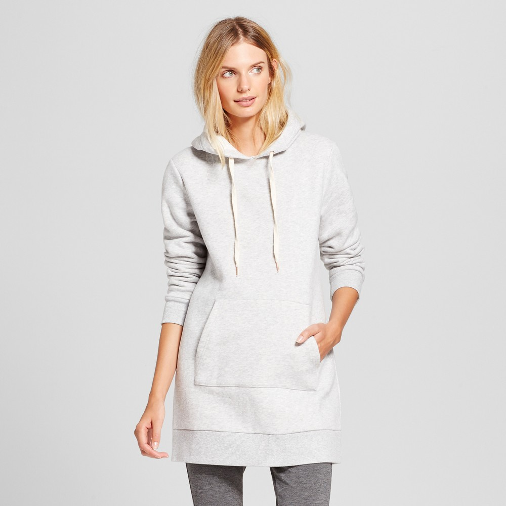 Womens Long Sleeve Hoodie Tunic - A New Day Gray M