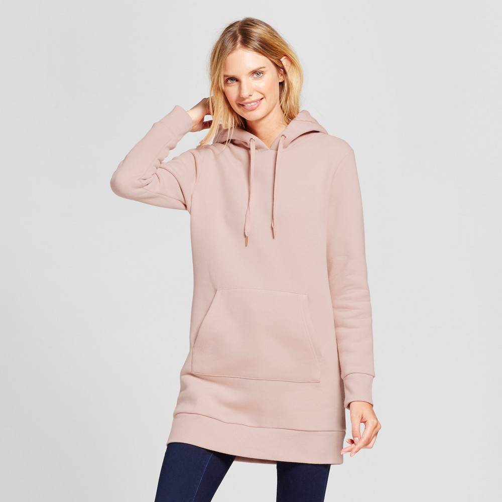 Womens Long Sleeve Hoodie Tunic - A New Day Blush M
