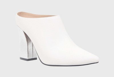 view Women's Trisha Pointed Toe Silver Heel Mules - Who What Wear on target.com. Opens in a new tab.