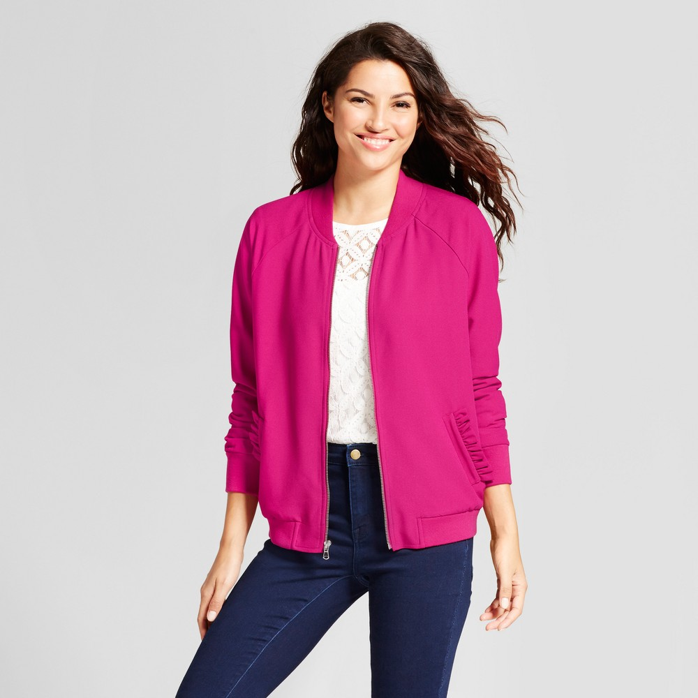 Womens Ruffle Bomber Jacket - A New Day Magenta Xxl, Purple