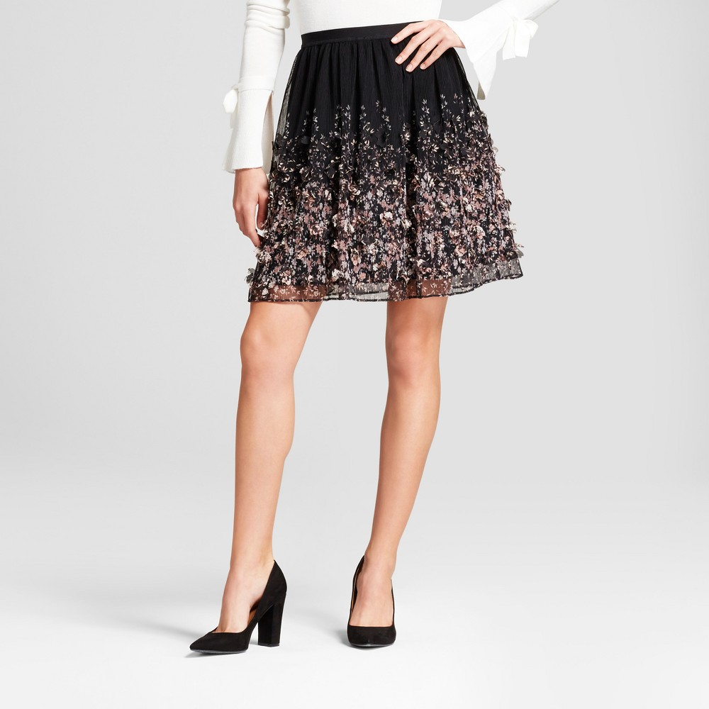 Womens Floral Textured Skirt - A New Day Black L