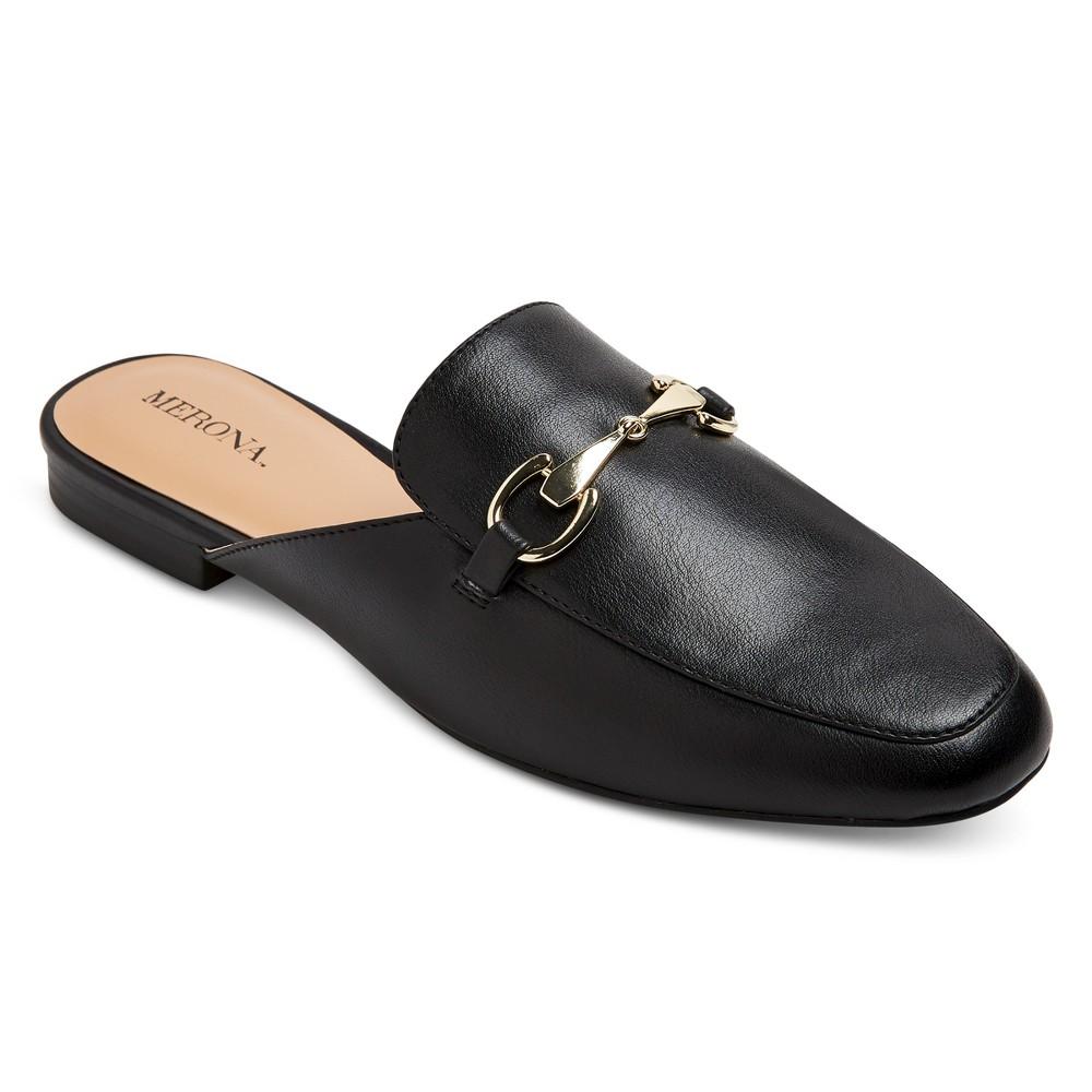 Womens Kona Wide Width Backless Loafer Mules - Merona Black 6.5 Wide