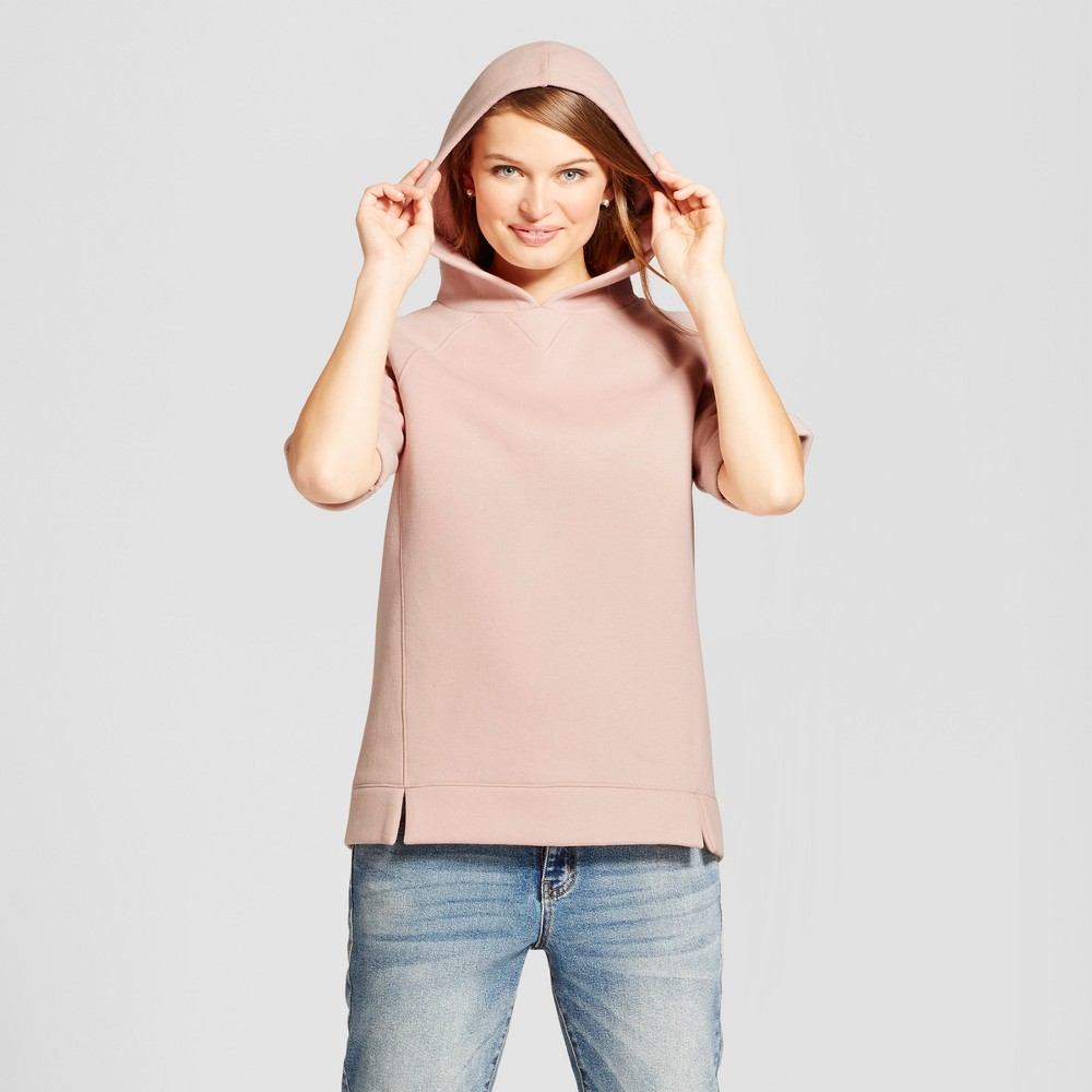 Womens Short Sleeve Hoodie Tunic - A New Day Smoked Pink L