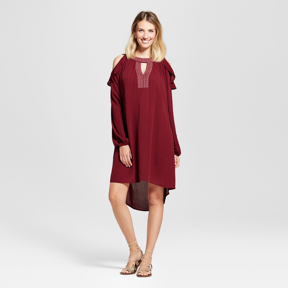 Womens Embellished Cold Shoulder Ruffle Dress - Knox Rose Burgundy M, Red