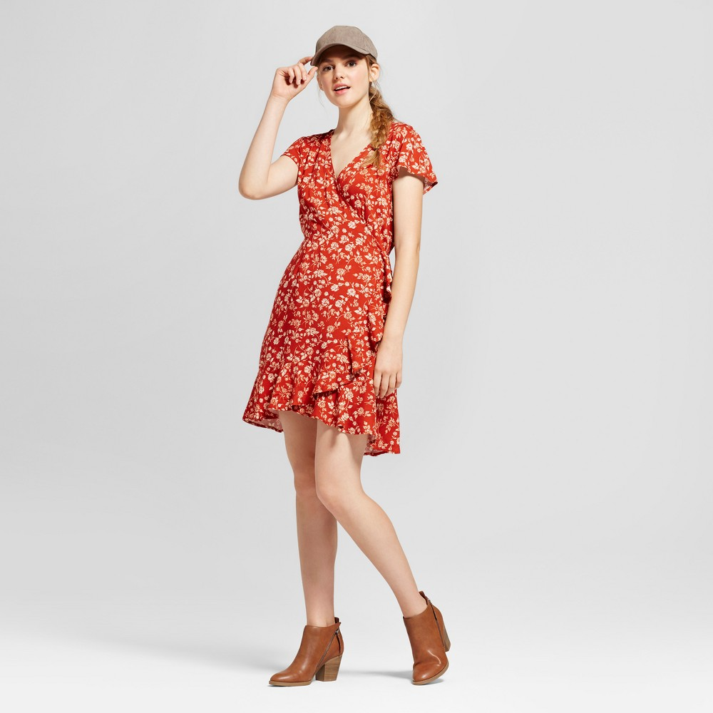 Womens Short Sleeve Woven Wrap Dress - Mossimo Supply Co. Rust M, Red