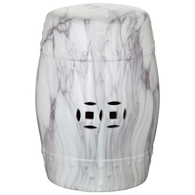 Jade Swirl Garden Stool   White / Black Marble Finish   Safavieh®