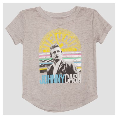 Toddler Girls' Johnny Cash Mini Cap Sleeve T-Shirt - Heather Gray 12M
