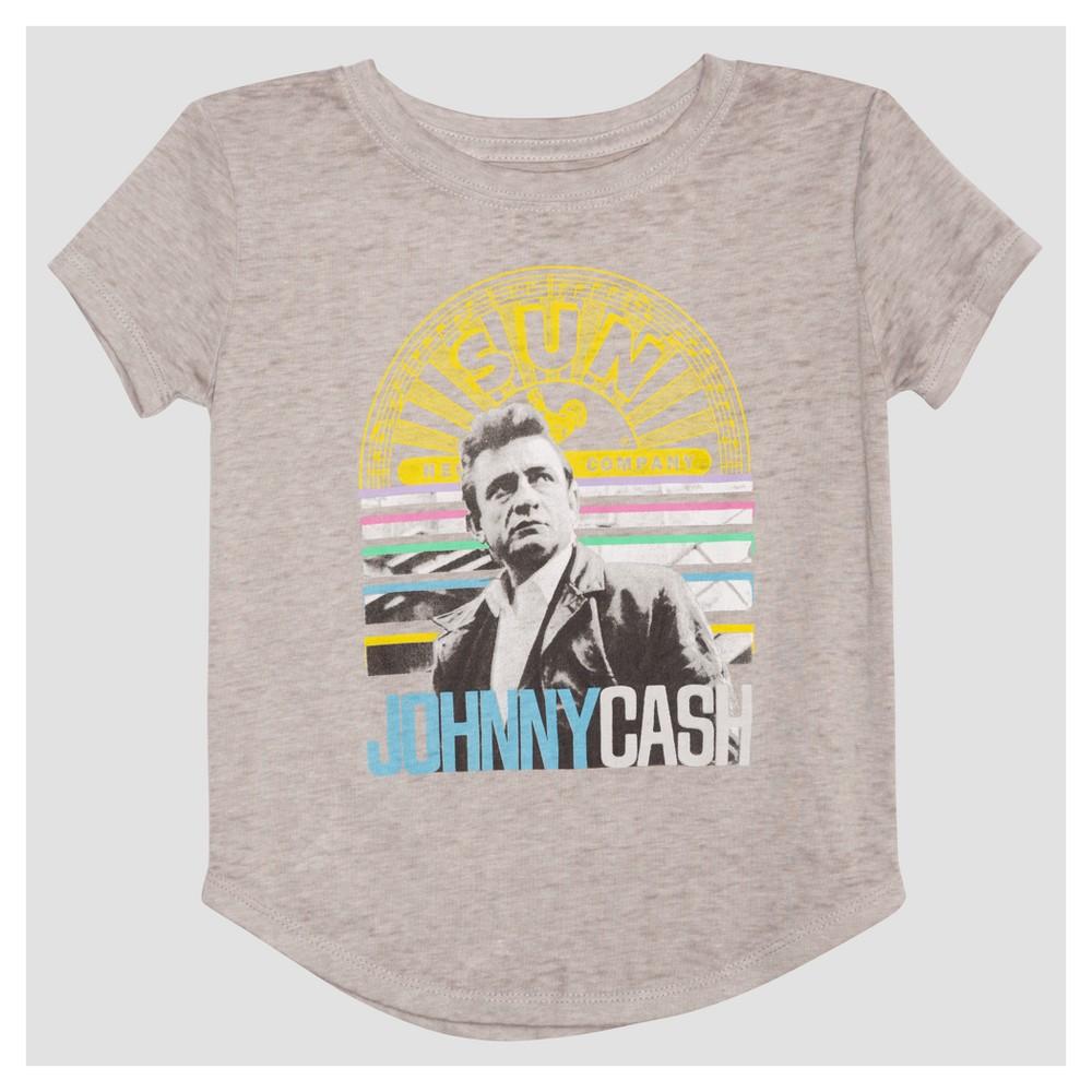 Toddler Girls Johnny Cash Mini Cap Sleeve T-Shirt - Heather Gray 5T