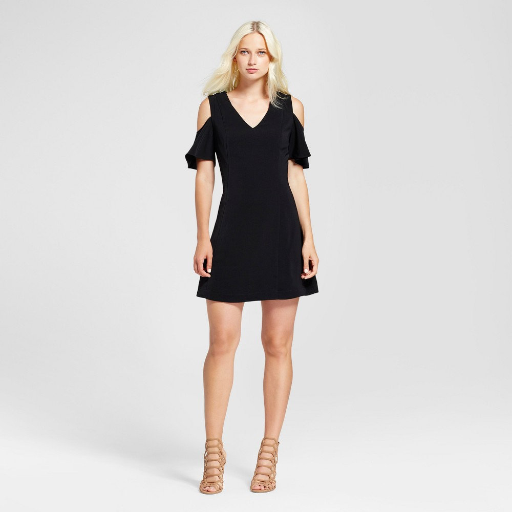 Womens V-Neck Cold Shoulder Dress - Layered with Love Black L