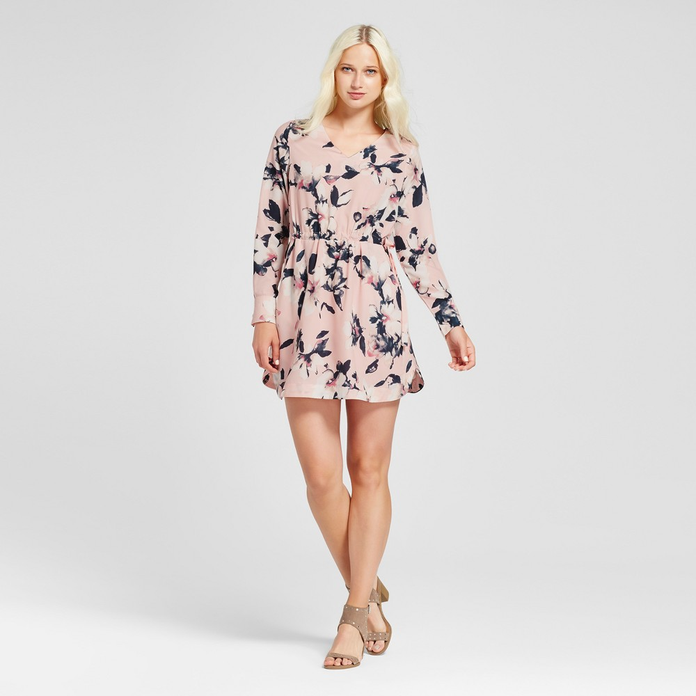 Womens Floral Long Sleeve V-Neck Dress - Layered with Love Pink L, Black Pink White