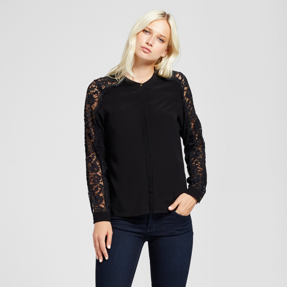 Womens V-Neck Lace Sleeve Blouse - Layered with Love Black XL
